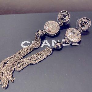 Chanel glass crystal earrings